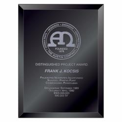 BEVELED BLACK GLASS PLAQUE