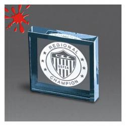ACRYLIC BEVELED SQUARE PAPERWEIGHT