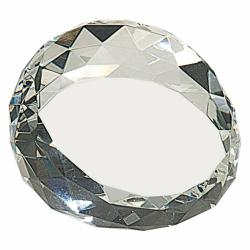 CRYSTAL ROUND SLANTED PAPERWEIGHT