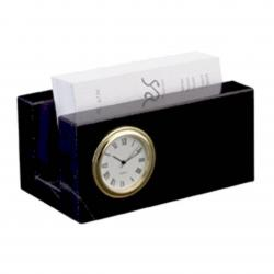 BLACK MARBLE BUSINESS CARD MINI CLOCK