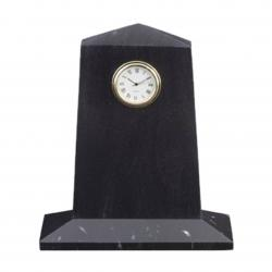 BLACK MARBLE PENTAGON CLOCK