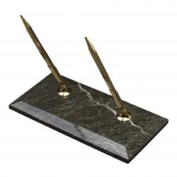 GREEN MARBLE DOUBLE PEN STAND