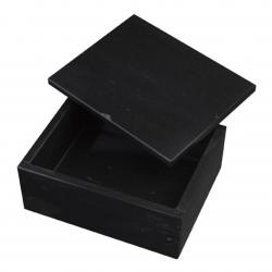 BLACK MARBLE BOX W/ REMOVABLE LID