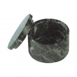 GREEN MARBLE ROUND BOX W/ REMOVABLE LID