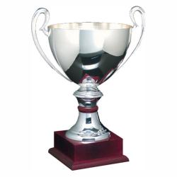 SILVER PLATED TROPHY-MAHOGANY BASE