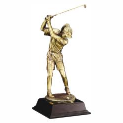 GOLD METALLIC FEMALE GOLFER