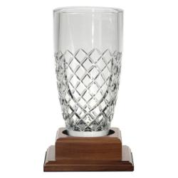 OWENBEG LEAD CRYSTAL BARREL VASE