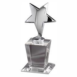 SILVER STAR ON LARGE CRYSTAL BASE