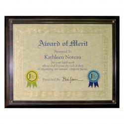 WALNUT VENEER CERT. PLAQUE W/SLIDE IN