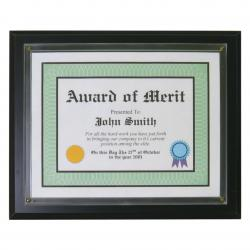BLACK VENEER CERT. PLAQUE W/SLIDE IN