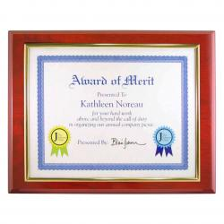 MAHOGANY FINISH CERT. PLAQUE W/SLIDER