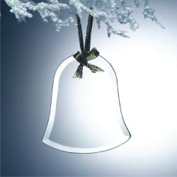 BEVELED JADE GLASS BELL ORNAMENT