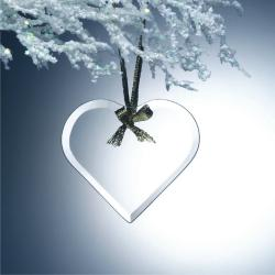BEVELED JADE GLASS HEART ORNAMENT
