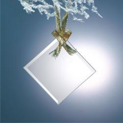 BEVELED JADE GLASS SQUARE DIAMOND ORNAMENT