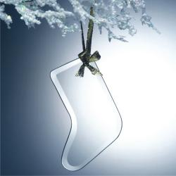 BEVELED JADE GLASS STOCKING ORNAMENT