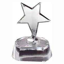 SILVER STAR ON SMALL CRYSTAL BASE