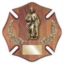 14 X 14 WALNUT FIREFIGHTER PLAQUE