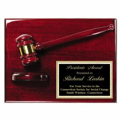 12 X 9 ROSEWOOD FINISH GAVEL PLAQUE