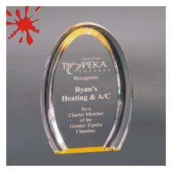 OVAL GOLD HALO ACRYLIC AWARD