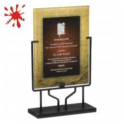 BURGUNDY/GOLD ACRYLIC ART PLAQUE WITH STAND