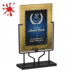 BLUE/GOLD ACRYLIC ART PLAQUE WITH STAND