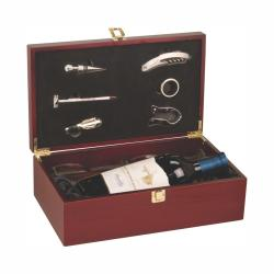 ROSEWOOD FINISH WINE BOX W/ TOOLS AND GLASSES
