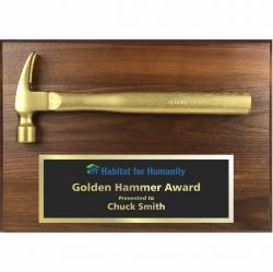 14 x 10 WALNUT GOLDEN HAMMER PLAQUE