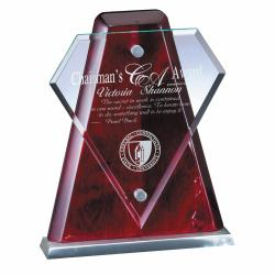 GLASS DIAMOND ROSEWOOD PLAQUE
