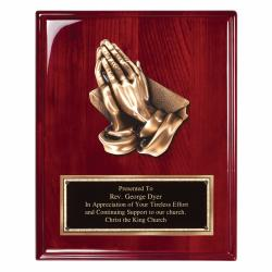 8 X 10 ROSEWOOD PRAYING HANDS PLAQUE